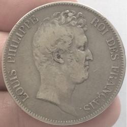5 francs tête nue Louis-Philippe sans le...