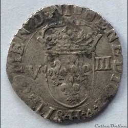 Huitième d'écu Henri IIII 1609 H La Roch...