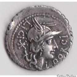 Denier serratus (118 avant J.-C.) Lucius Porcius Licinius
