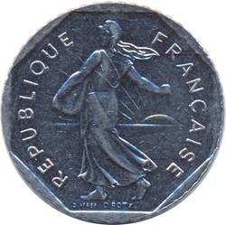 2 francs Semeuse, tranche striée