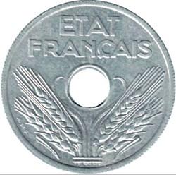 20 centimes Etat Francais, type vingt