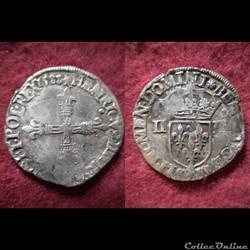 QUART ECUS HENRI III 1583 DE NANTES