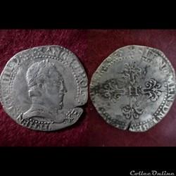 DEMI FRANC AU COL PLAT HENRI III 1578 LA...