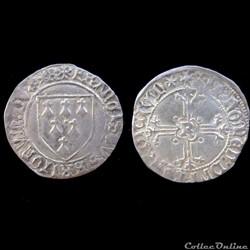 GROS A L'ECUS FRANCOIS II DE BRETAGNE 1477-1483 RENNES
