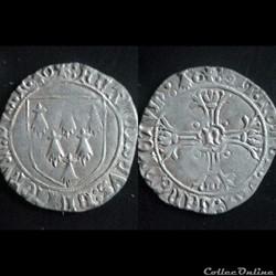 GROS A L'ECUS FRANCOIS II DE BRETAGNE 1486-1488 NANTES