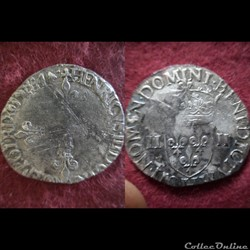 QUART ECUS HENRI III 1584 LA ROCHELLE
