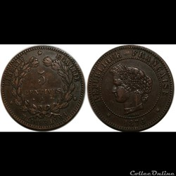 5 centimes Cérès 1876