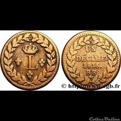 1 décime à l'L courronnée - Louis XVIII 1815 BB