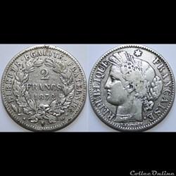 2 francs Cérès, avec légende 1872 K