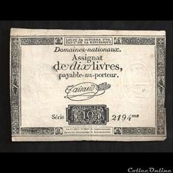 assignat de 10 livres   24 octobre 1792    sur papier (2fleurs de lys  et 10 £ en filigrane  )