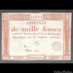 assignat  de 1000 livres du 18 nivôse l'an III de la République
