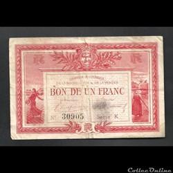 1 franc 1915 chambre de commerce Vendée LA ROCHE SUR YON