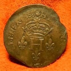 HENRI III Double sol parisis 1588   Lyon...