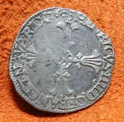 HENRI IV LE GRAND 1/4 d'écu, croix feuil...