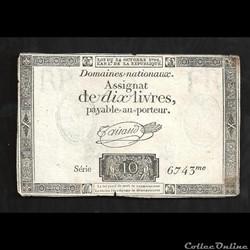 assignat de 10 livres   24 octobre 1792   ( RP   FR  en filigane  et 2 faisceaux de licteur)