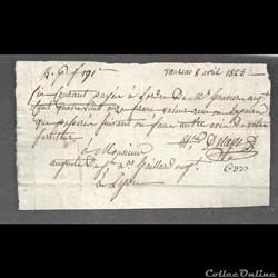 1823  billet payé  à ordre  de 191 francs