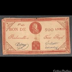 assignat  de 500 livres du trésor Royal armée catholique et royale