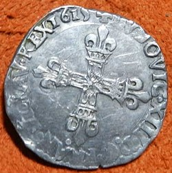 Louis XIII  1/4 écu 1615  Nantes