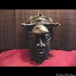 masque BAMOUN    bronze   mangoustes et ...