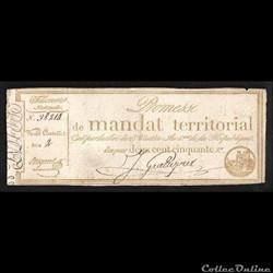 mandat territorial 250 francs  l'an 4 de la République