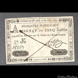 faux assignat  de 5 livres .domaines nationnaux du 30 avril 1792
