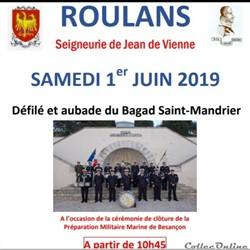 défilé et aubade du BAGAD St  Mandrier le 1 Juin 2019  à Roulans 25640