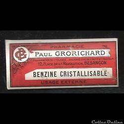 benzine cristallisable ancienne étiquett...