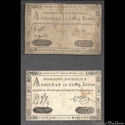 assignat  de 5 livres  du 6 mai  et du  28 septembre 1791