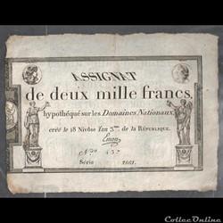 assignat  de 2000 francs  du 18 Nivose  de l'an III de la république