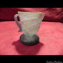 petit vase verre blanc irisé