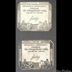 assignat  de 50 sols  du 4 janvier 1792