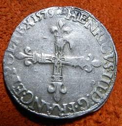 Henri III 1/4 écu   Rennes  1579