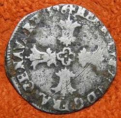 HENRI IV 1596 L  1/8 d'écu, croix feuill...