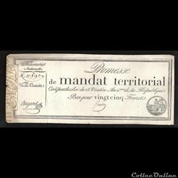 mandat territorial 25 francs  l'an 4 de la République