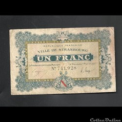 1 franc Strasbourg    du 11 novembre 1918  au 31 décembre 1920