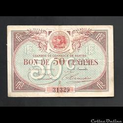 billet de necéssité 50 centimes 1923 chambre de commerce  NANTES