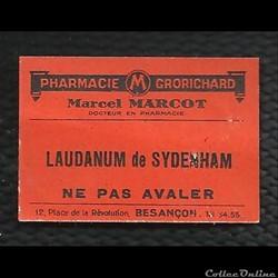 LAUDANUM de SYDENHAM ancienne étiquette ...
