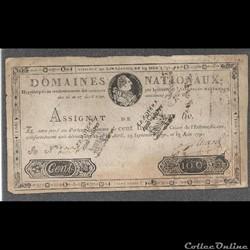 assignat  de 100 livres du 19 juin 1791 certifié faux avec PV
