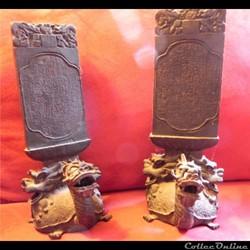 2 bronzes autel des ancêtres  tortue dra...