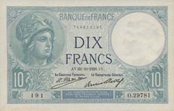 10 FRANCS 22 OCTOBRE 1926