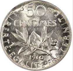 F. 190 50 centimes Semeuse Argent