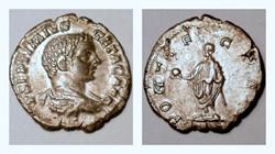 GETA Denarius, RIC 61a, PONTIF
