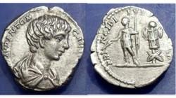 Caracalla AR Denarius RIC 13a, Trophy