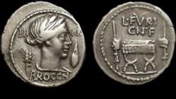 L FURIUS CN F BROCCHUS ROMAN REPUBLIC; G...