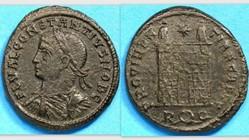 CONSTANTIUS II AE3 RIC VII 290, Campgate