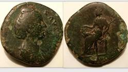 FAUSTINA I Sestertius RIC 1123, Cybele