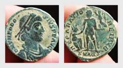 THEODOSIUS I AE2, RIC 30d, REPARATIO REI...
