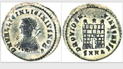 LICINIUS II AE3, RIC VII 36, Campgate
