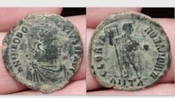 THEODOSIUS I AE2, RIC 68b, GLORIA ROMANO...