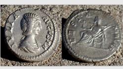 JULIA DOMNA Denarius RIC 583, Vesta